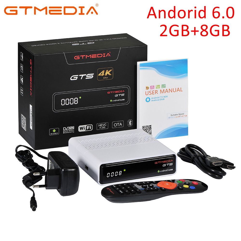 GTmedia GTS Satellite Receiver DVB-S2 dvb s2 Android 6.0 TV BOX DVB-S/S2 Smart TV BOX 2GB RAM 8GB ROM S905D Set Top box Receptor