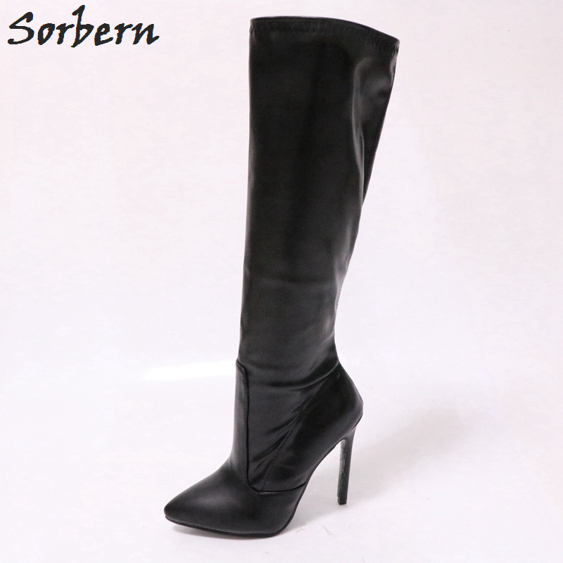 Sorbern 12Cm High Heel Knee Boots For Women Pointed Toe Heels Shoes Ladies Custom Wide Calf Size Boots Wide Fit Heels Autumn все цены