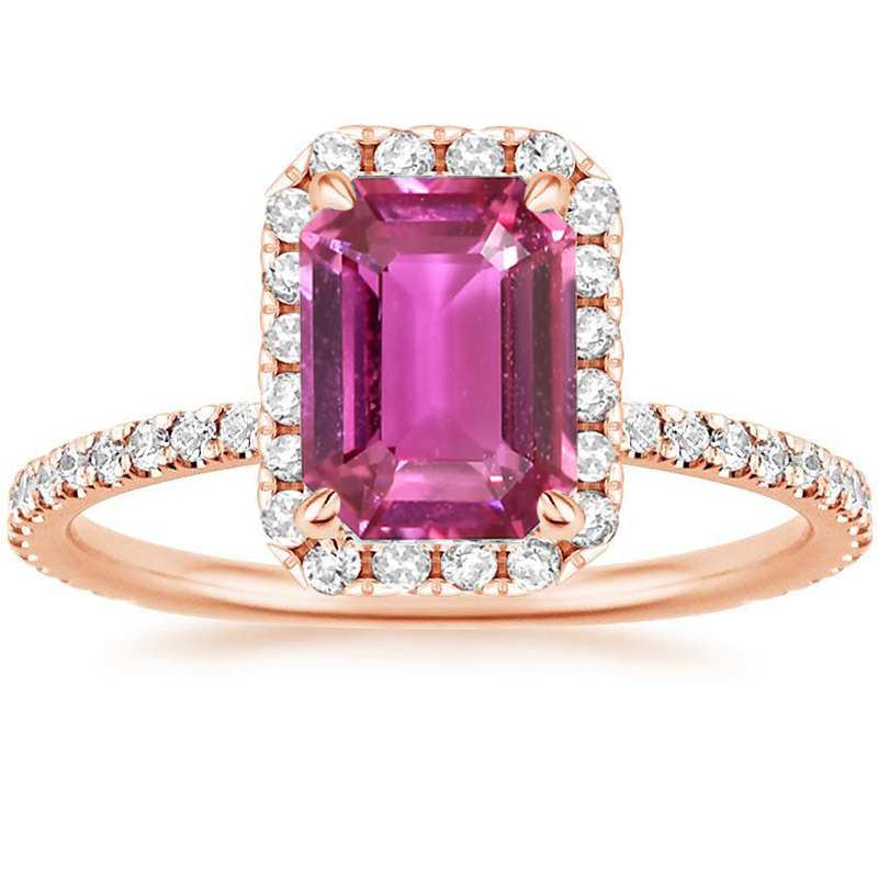 ANI 18K Rose Gold (AU750) Women Wedding Ring Certified Natural Pink Sapphire Pear/Oval/Rectangle Shape Engagement Diamond Ring new pure au750 rose gold love ring lucky cute letter ring 1 13 1 23g hot sale