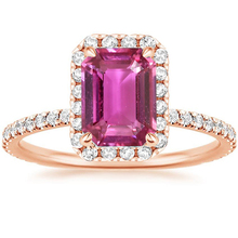 ANI 18K Rose Gold (AU750) Women Wedding Ring Certified Natural Pink Sapphire Pear/Oval/Rectangle Shape Engagement Diamond