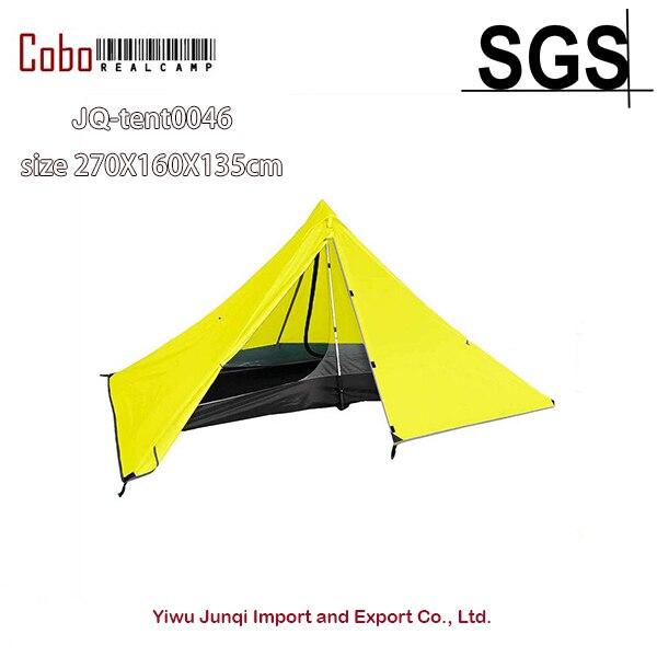 Sac à dos tente Double couche alpinisme ultra-léger pyramide tente Camping Trekking pôle imperméable voyage plage en plein air