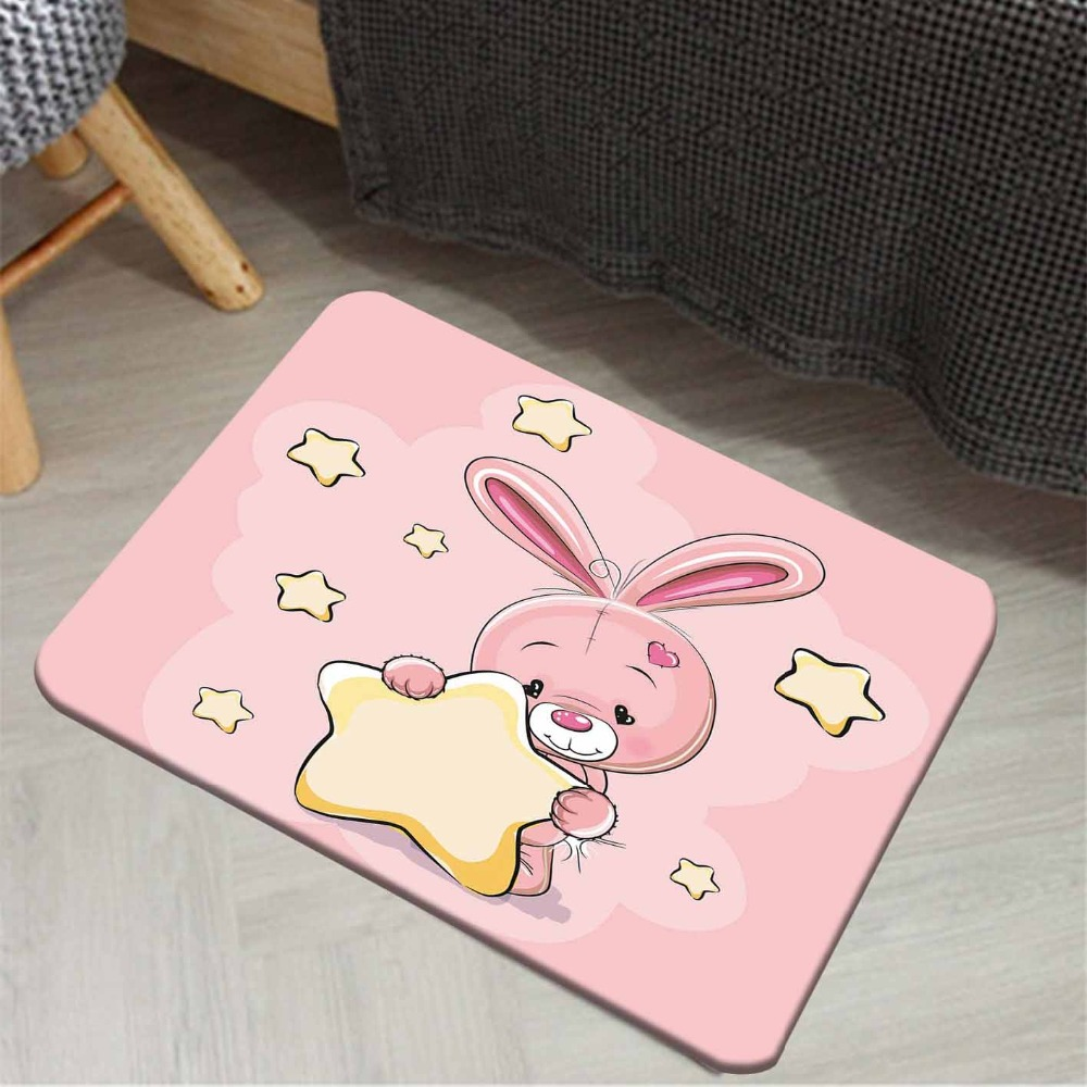 Else Pink Floor Cute Sweet Animals Yellow Rabbit 3d Cartoon Print Anti Slip Doormat Home Decor Entryway Kids Children Room Mat