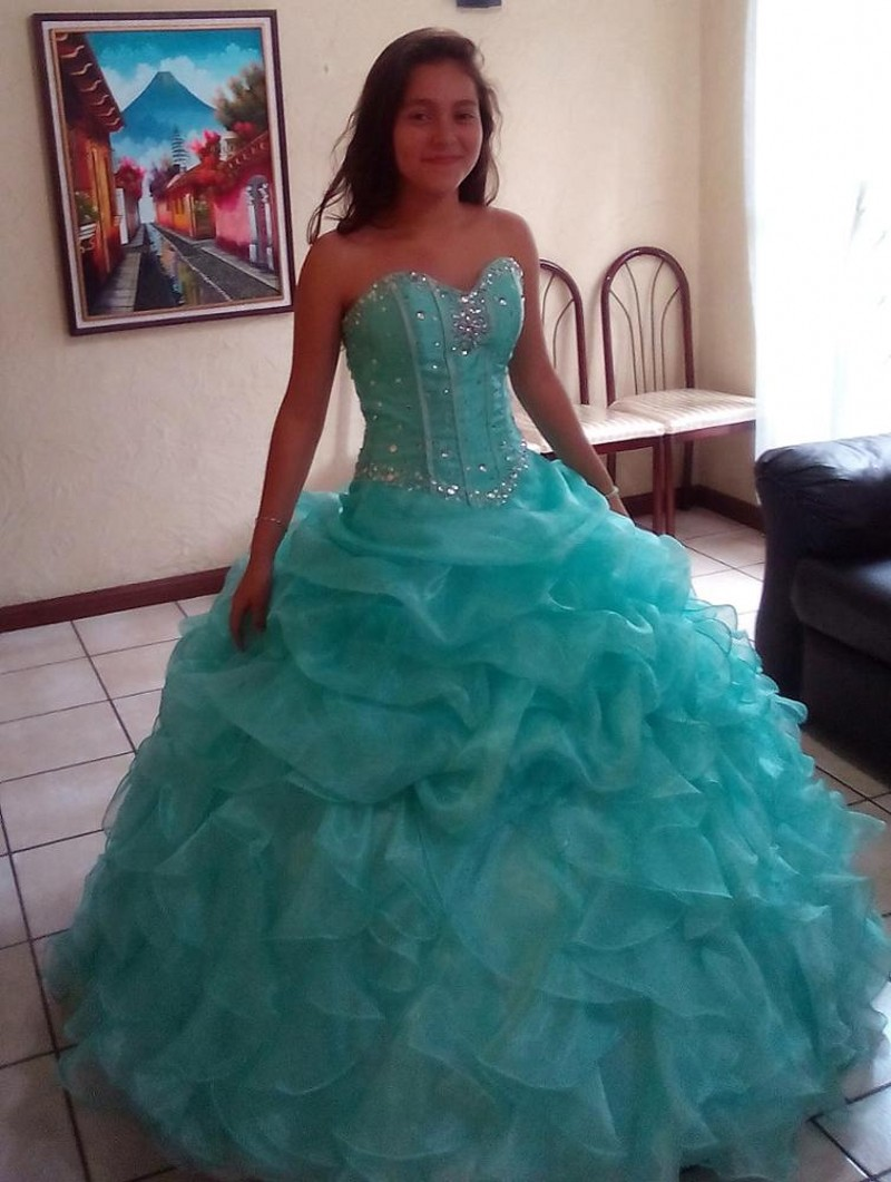 2018 Quinceanera Dresses Mint Green Ball Gown Prom Party Long Sweet ...