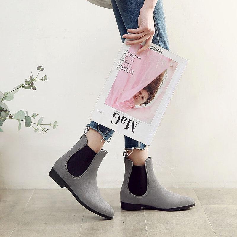 Women 39 s Short Rain Boots Waterproof Slip On Ankle Chelsea Booties Ladies Wellies Rain Boots Chelsea Shoes in Ankle Boots from Shoes