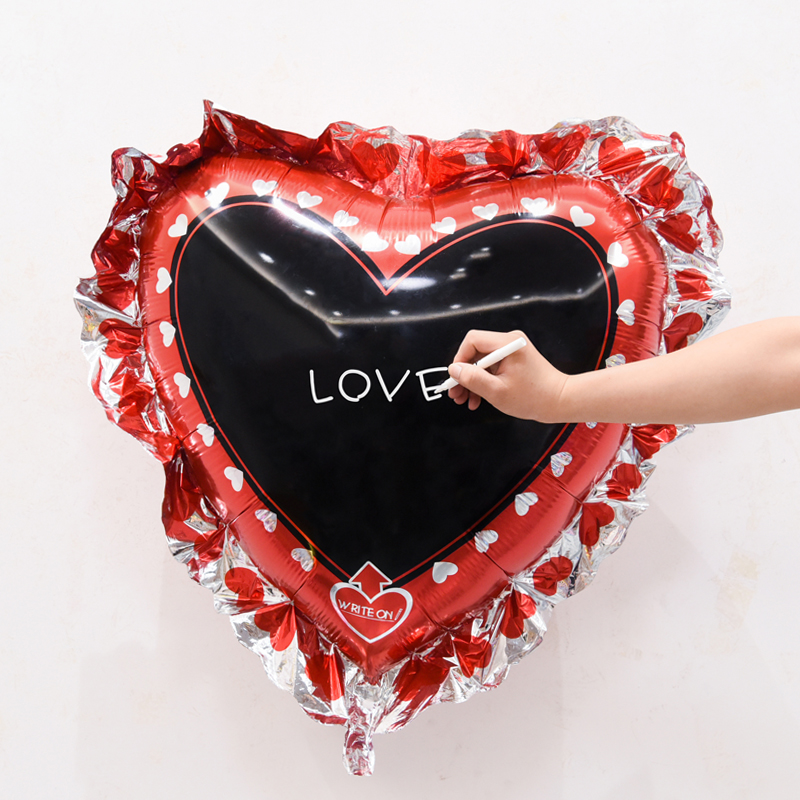 heart square Chalkboard Foil Balloons birthday Party Supplies Helium Inflatable Toy writing board blessing signs labels wedding