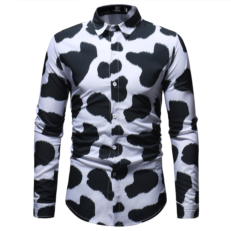 2018 Shirt Men Long Sleeve Business Fashion Cow Pattern Printing Slim Fit Casual Shirts Men Dress Shirts Camisa Social Masculina
