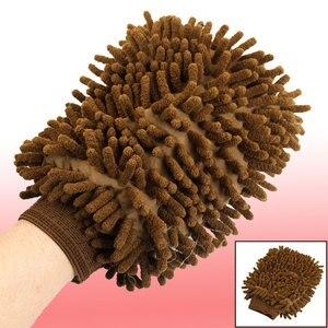 Image 2 - UXCELL Microfiber Chenille Wash Mitt Mitten Home Kitchen Car Vehicle Dust Cleaning Glove Brown