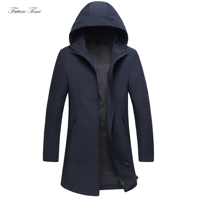 Men Jackets Waterproof Long Jacket and Coats for Autumn Hooded Slim Fashion Man Outwear 2018 Business Male Coat 3 Colors C1638