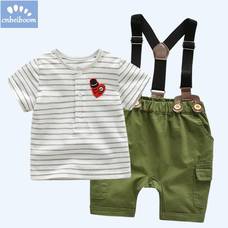 2018 summer Newborn Baby Boy Clothes Set Birthday Christening Infant Boys Suit strip T shirt + Bib short pant ArmyGreen clothing