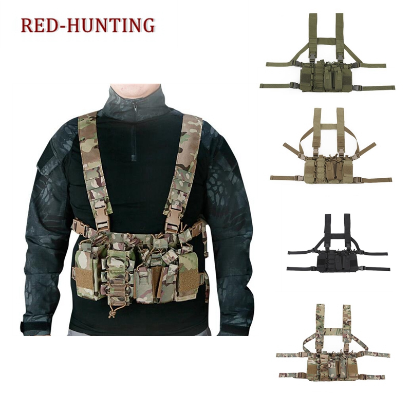 Tactical Military Vest With AK Magazine Pouch Molle Light Weight Chest Rig Strap Harness Vest Belt