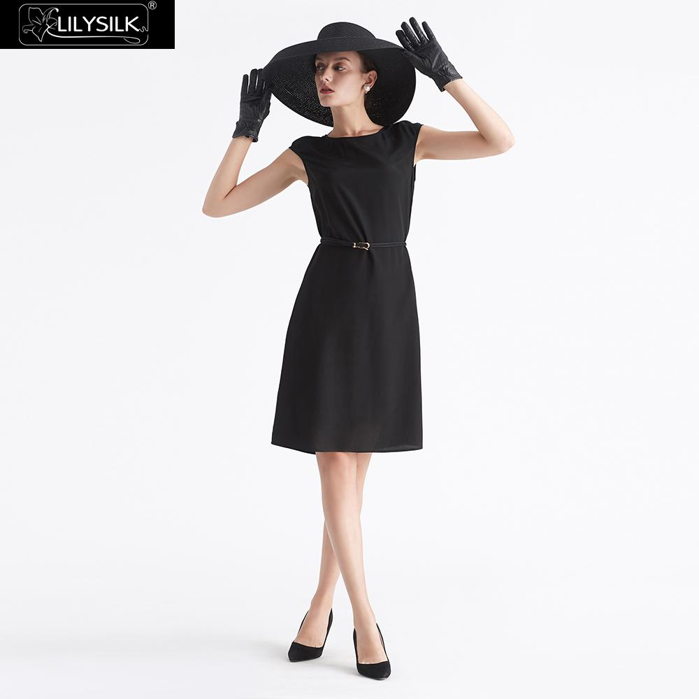 Detail Feedback Questions about LILYSILK Dress Little Black Silk Classic  Cap Sleeve With Belt Ladies Free Shipping on Aliexpress.com  c15b0fba2c67