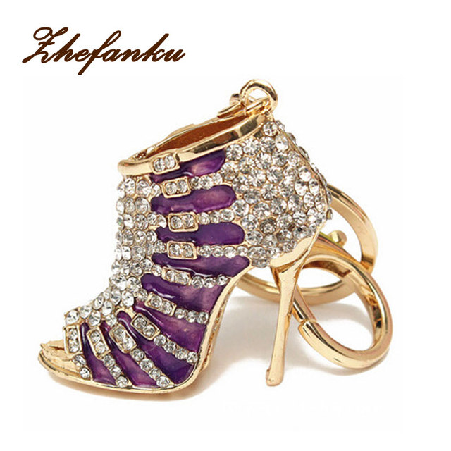 Women Crystal High Heeled Rhinestone Keychain Purse Pendant Bags Cars Shoe  Ring Holder Chains Key Rings For Women Gifts 7c15750301f6