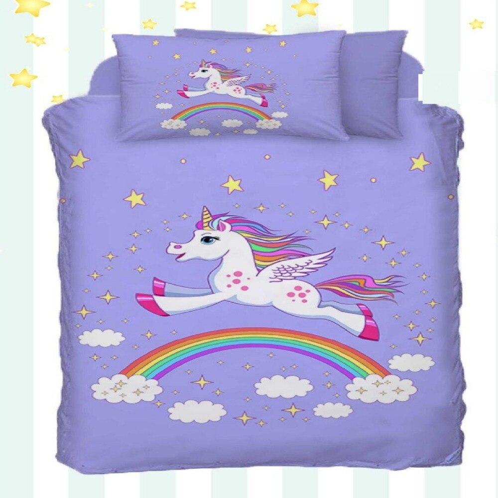 Other 4 pièces étoiles nuages licorne cheval courir sur arc-en-ciel impression 3D coton Satin bébé housse de couette ensemble de literie taie d'oreiller drap de lit