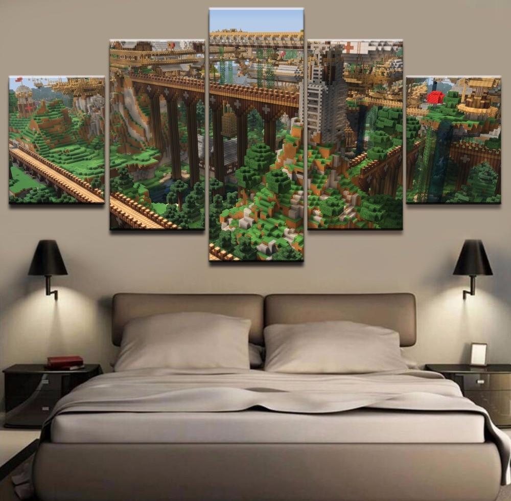 Jeu Affiche 5 Pièces Home Decor Peinture Minecraft Paysage Mur Art Photos Toile Imprimé Moderne Motifs Photos Mur Décor
