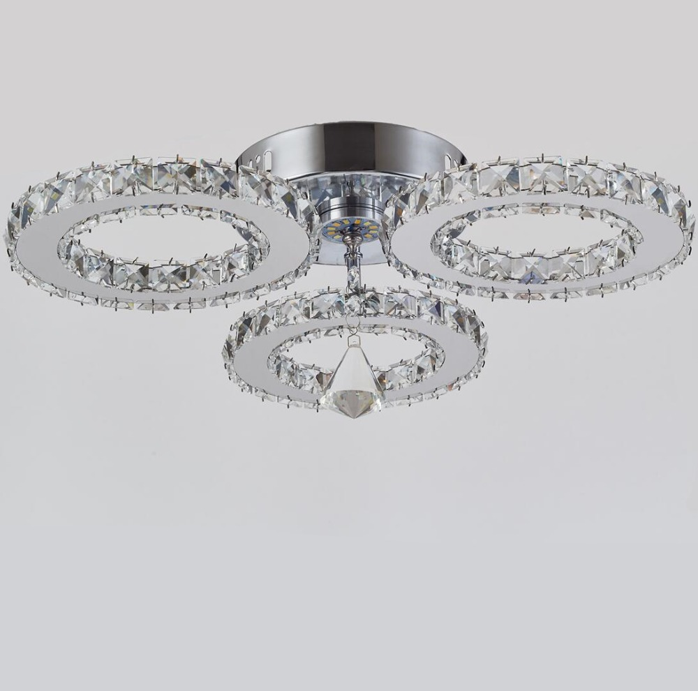 Modern lustres 3 rings Crystal LED Crystal Chandelier Crystal Lamp / Lighting Fixture LED Circle Light led Ring light AC95-260V silver crystal ring led chandelier crystal lamp light lighting fixture modern led circle light used for ceiling or wall 20cm