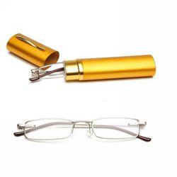 Mayitr 1 개 Unisex Metal 독서 Glasses 8 색 휴대용 Glasses Clear 봄 Hinge + 1.0 ~ + 4.0 와 관 Case