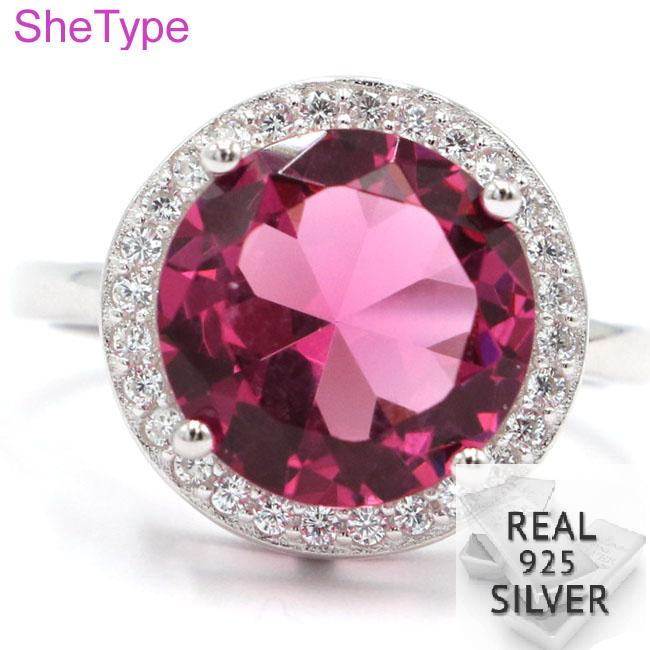 14x14mm New Designed 4.2g Pink Tourmaline White CZ Gift For Girls 925 Solid Sterling Silver Rings