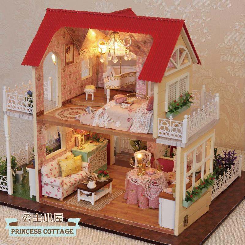 Eva2king Hot Diy Dollhouses Miniature Casinha de boneca Poppenhuis Accessories Oyuncak ev Dolls houses Toys for
