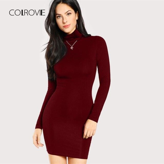 COLROVIE Burgundy High Neck Sexy Dress Women 2018 Office Long Sleeve Party  Dress Girl Blue Bodycon b42bbfb5ff40