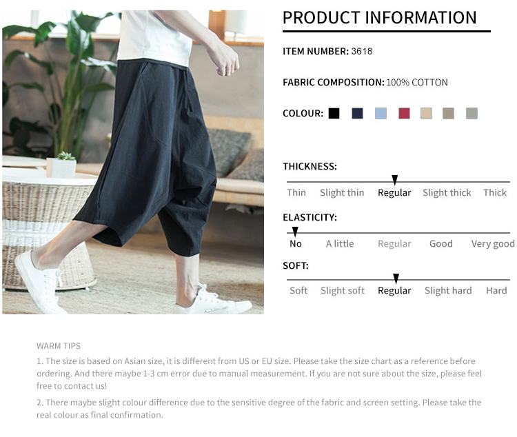MRDONOO Men Pants Men's Wide Crotch Harem Pants Loose Large Cropped Trousers Wide-legged Bloomers Chinese Style Flaxen Baggy 94
