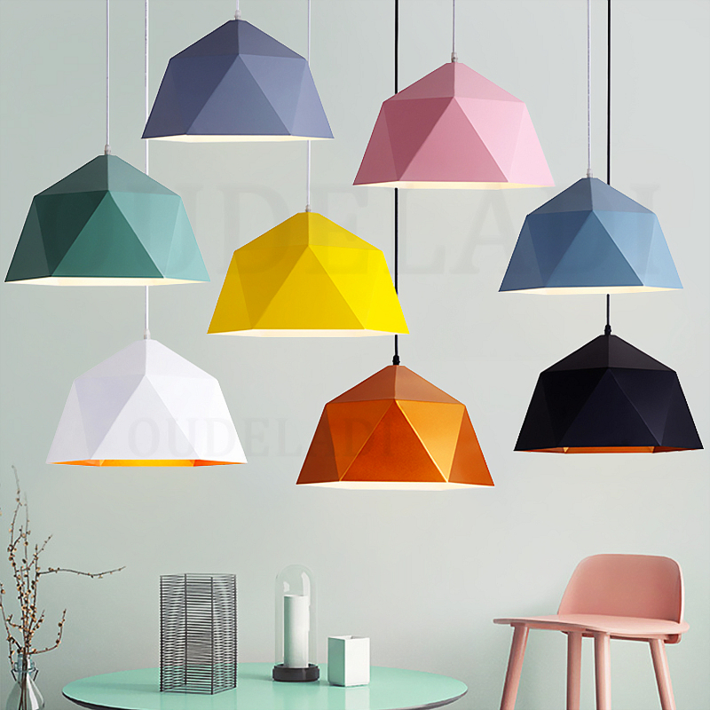 Nordic wrought iron Macarons Pendant Lights single-headed polygonal diamond E27 personalized restaurant home lighting nordic contracted wrought iron aluminum pendant lights suitable for home shop decoration home lighting restaurant droplight