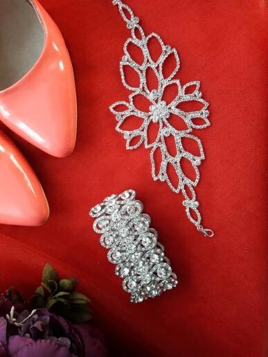 Versatile 2 In 1 - Silver Crystal Bracelets Ankle Bracelets & Bangles
