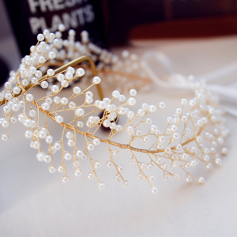 2018 Heavy Beading Pearls Headbands Crowns and Tiaras For Women Jewelry Bohemia Artificial Pearls Wedding Hair Accessories