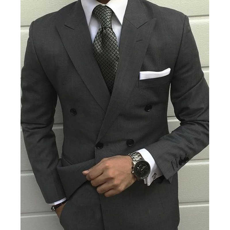 Latest kingsman Smoking Grey Jackets men wedding suit Prom Tuxedo Slim Fit 2 Pieces Custom Groom mens suits terno masculino