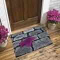 Серый  черный  уличный кирпич  дорога  фиолетовый лист  3d Рисунок  противоскользящий декоративный пол  дверь  коврик для дома  прихожая  гости...
