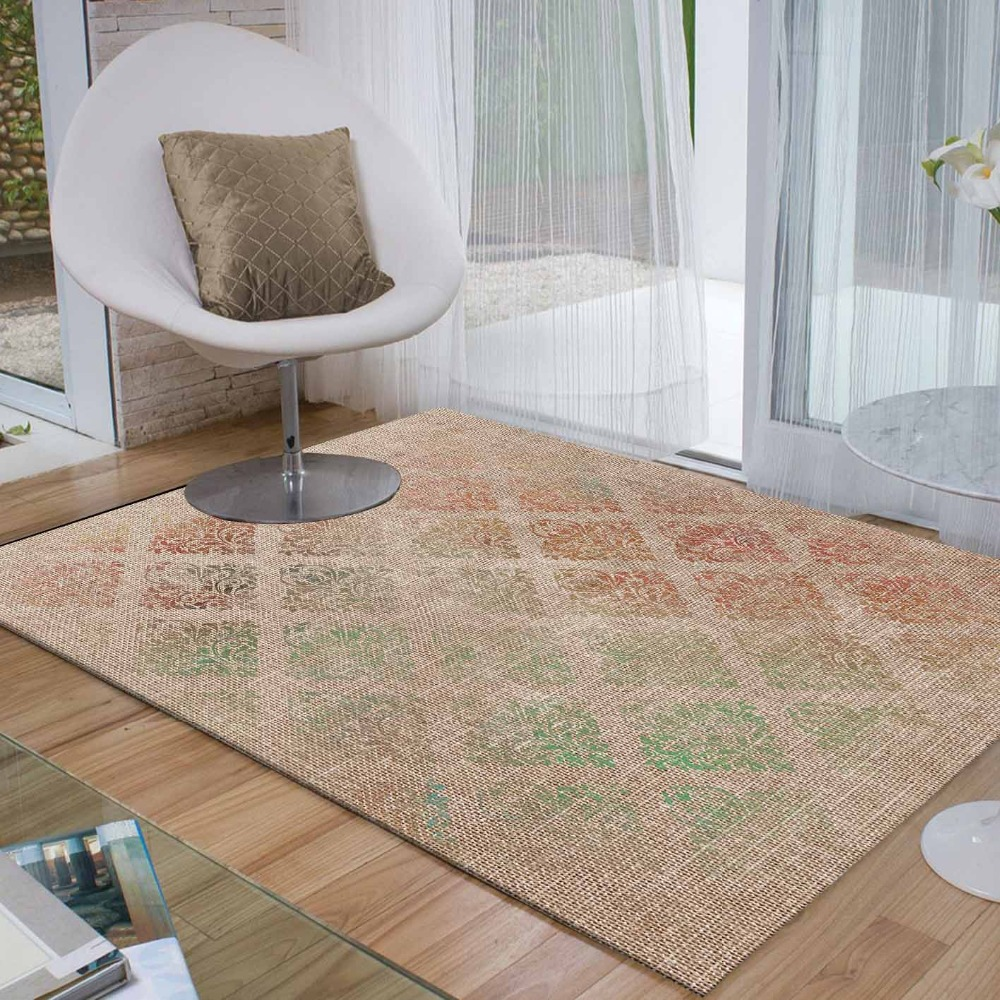 Else Brown Green Red Ethnic Retro Flower Floral 3d Print Non Slip Microfiber Living Room Decorative Modern Washable Area Rug Mat