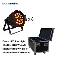 8pcs/flightcase, Zoom LED par light 18x10W RGBW 4in1 or 18x12W RGBWA 5in1 or 18x15w RGBWAUV 6in1 stage wedding dmx dj light
