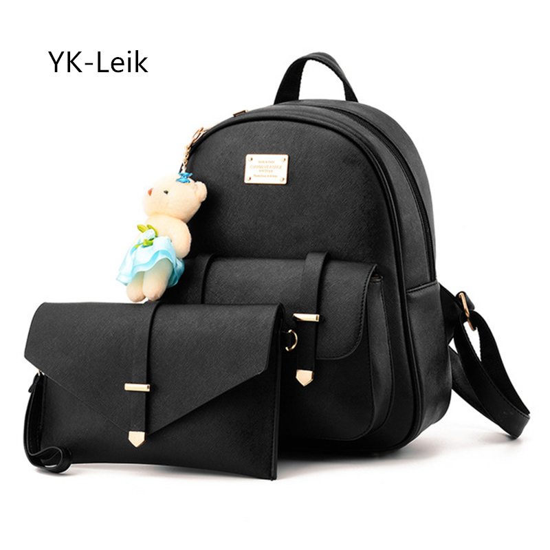 YK Leik Korean all match fashion women s backpacks 2 pieces sets of backpack shoulder bag