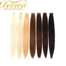 Doreen лента в машине сделано Remy человеческих волос для наращивания 16 до 22 дюймов 20 шт 50 г/упак. шелковистые прямые ленты ПУ бесшовные уток кожи
