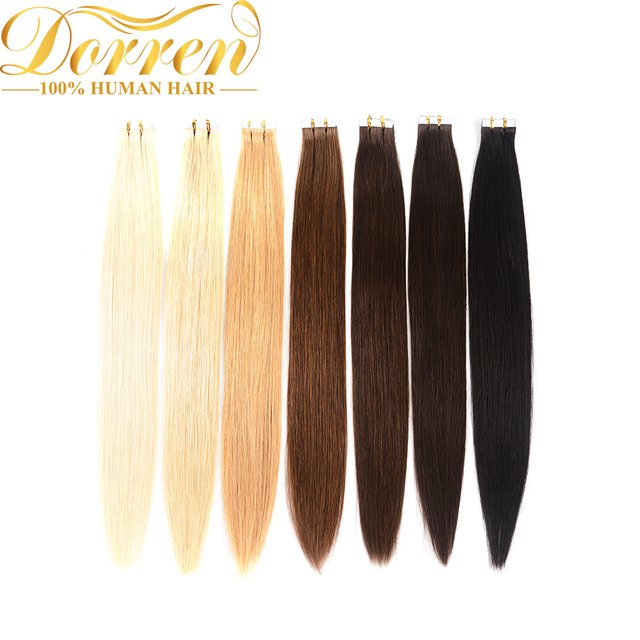 Doreen  Machine Made Remy Tape In Human Hair Extensions 16 to 22 Inch 20 Pcs 50g/Pack Silky Straight PU Seamless Skin Weft