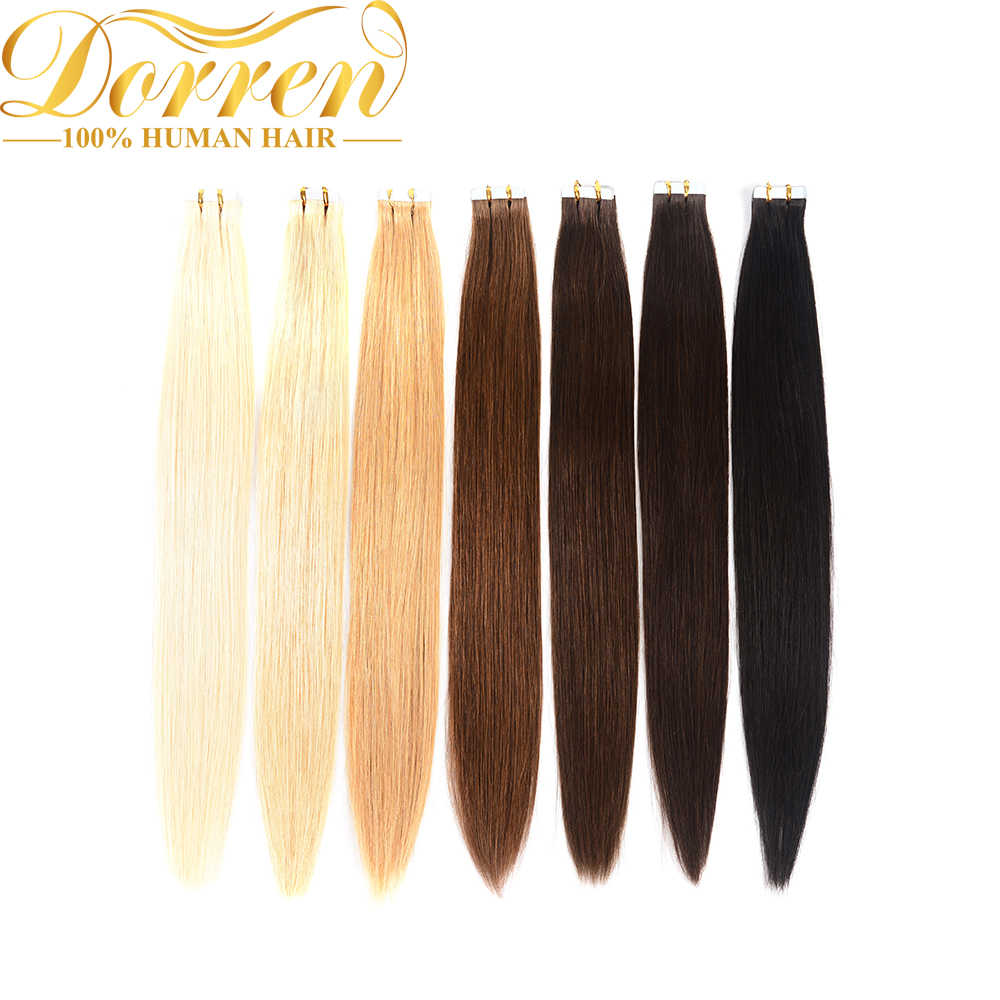 Doreen Tape In Machine made Remy Human Hair Extensions 16 to 22 inch 20 pcs 50g/pack Silky Straight Tape PU Seamless Skin Weft