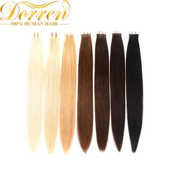 Doreen taśma w maszynie wykonane Remy doczepy z ludzkich włosów 16 do 22 cali 20 sztuk 50 g paczka jedwabista prosta taśma PU bezszwowa skóra wątek tanie i dobre opinie Doreen Hair 2 5 g sztuka Nie remy włosy Machine made remy