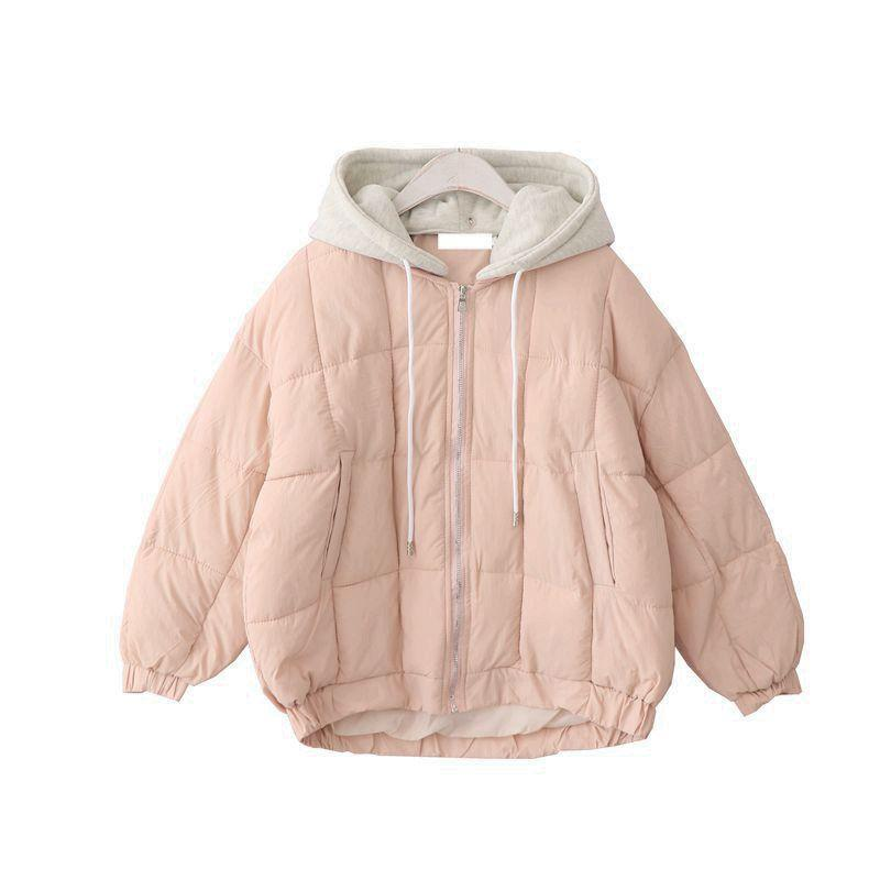 2019 Puff Padded Zipper With Hood Warm Outwear Quilted Women Jacket