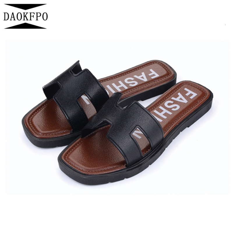 DAOKFPO Brand Design 2018 Flats Sandals Woman Slippers PU Leather Ladies Flip Flops Casual Beach Shoes Non-slip slippers NVT-31 daokfpo 2018 summer new genuine leather peacock eye crystal slippers beach slope wedges flip flops shoes woman nvt 24