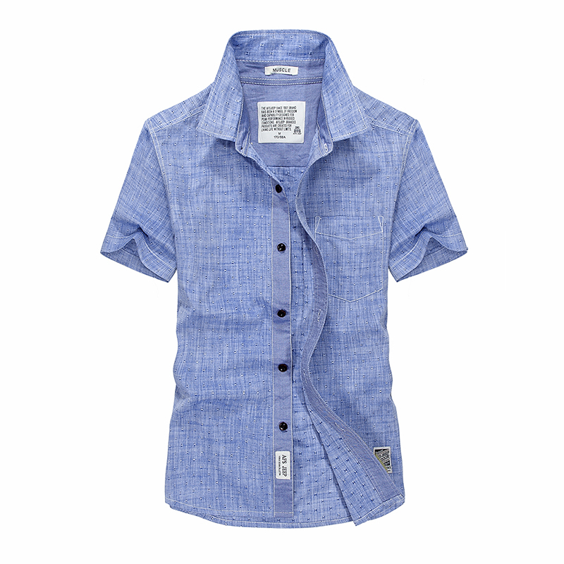 Big Size S-XXXL, 4XL Short Sleeve Shirts Men Cotton Linen Thin camisa masculina Summer Style 2018 new Casual Dot Shirts A3331 ...
