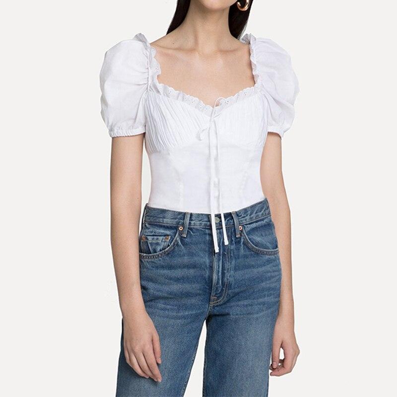 2018 nouveau femmes 100% coton Blouse coréenne mode à manches courtes femmes arc Blouse chemise femmes haut S M L XL