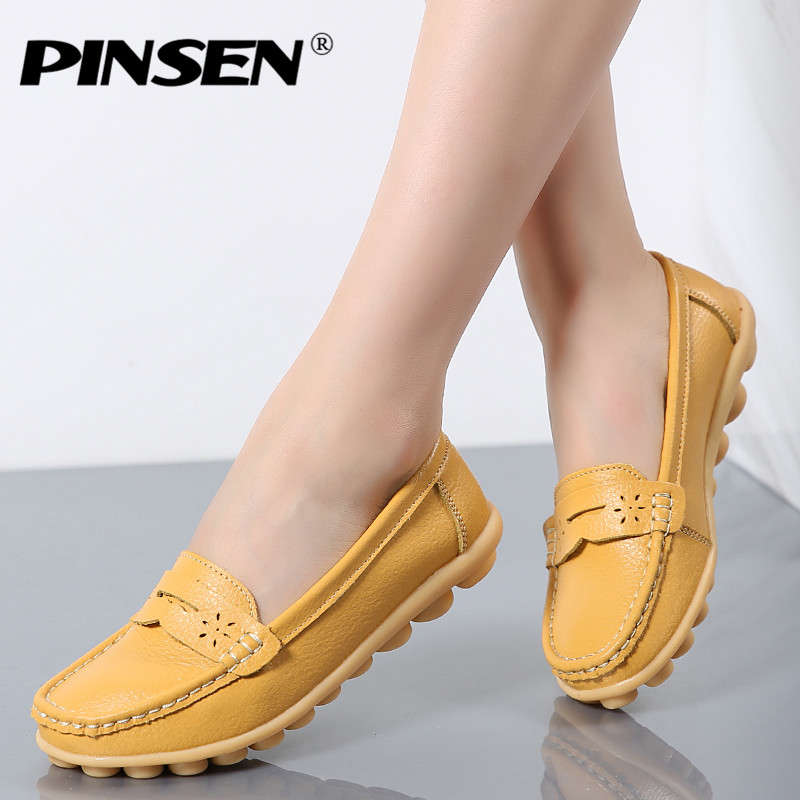 PINSEN 2017 Spring women genuine leather ballet flats casual shoes round toe slip on flats female loafers ballerina flats 2018 new genuine leather flat shoes woman ballet flats loafers cowhide flexible spring casual shoes women flats women shoes k726