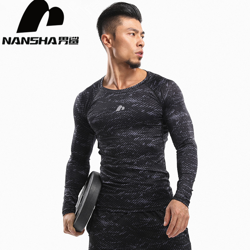 NANSHA Mens-kompressionskjorta Långärmad andnings-Quick Quick T-shirt Bodybuilding Weight Lifting Base Layer Fitness Tight Toppar