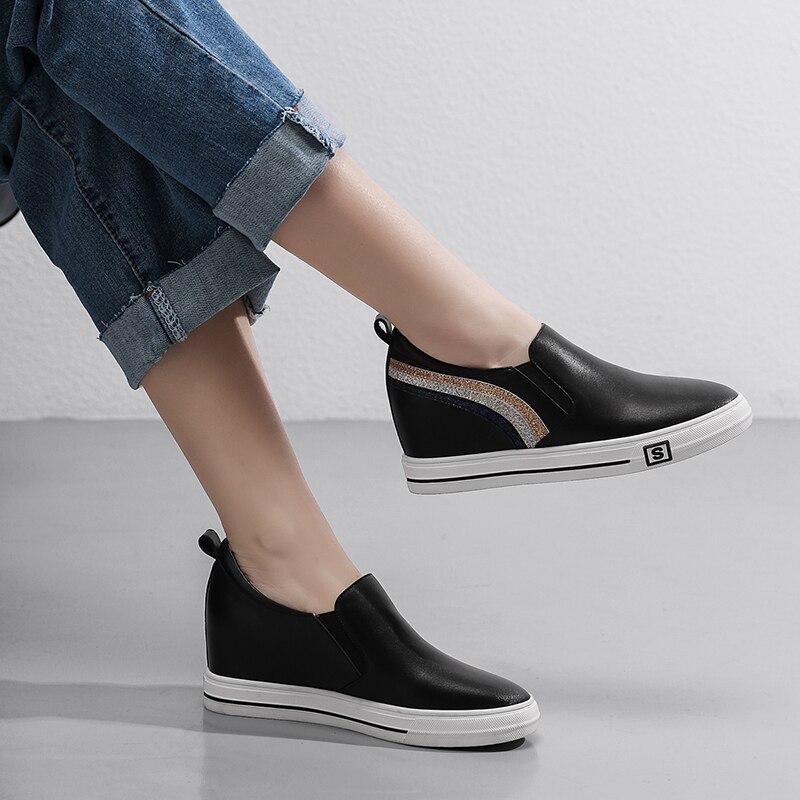 Mujeres Plataforma 2019 Casuales Zapatos Negro Cuero Cm Casual blanco Deporte Primavera Moda De Las 5 Zapatillas Mujer 5 R5z0wYq