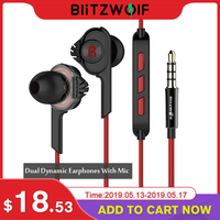 BlitzWolf Wired Earphone With Mic In ear Earphone 3.5mm Earphones With Microphone For Phone Stereo Earbuds For iPhone Smartphone