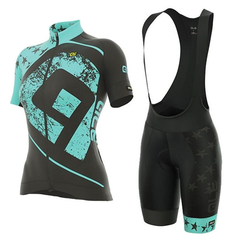 2018 ALE Cycling Jersey Short Sleeve Bib shorts suit women Bike mountain mujer Clothing Set Maillot Bicycle Clothes uniform J18
