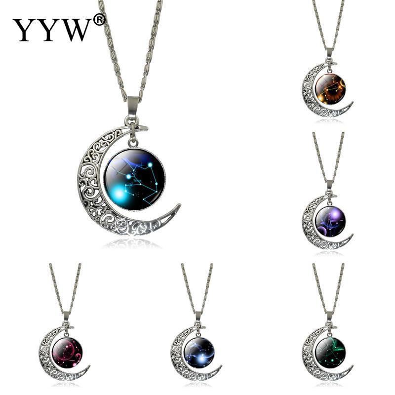 2017 New 12 Twelve Constellations Necklace Leo pendant Blue Moon Stars Lion Symbol Jewelry Moon dome