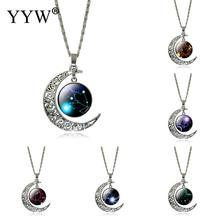 2017 New 12 Twelve Constellations Necklace Leo pendant Blue Moon Stars Lion Symbol Jewelry Moon dome zodiac necklace
