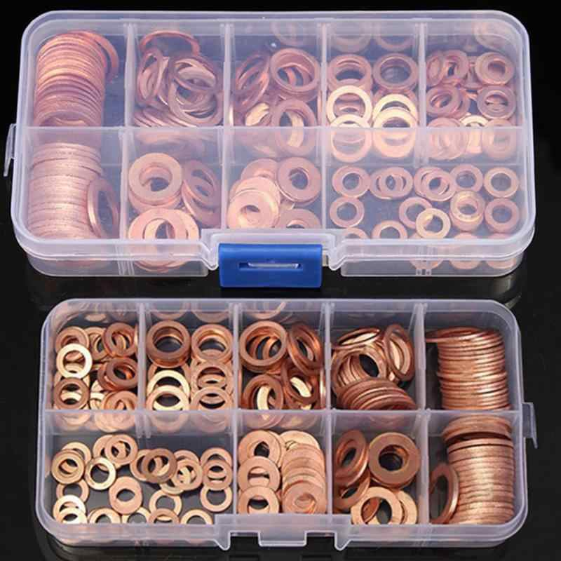 200Pcs Copper Washer Gasket Nut and Bolt Set Flat Ring Seal Assortment Kit With Box M5/M6/M8/M10/M12/M14 for Sump Plugs Water