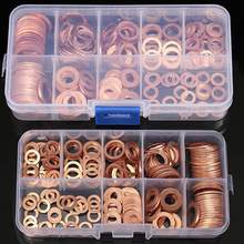 200Pcs Copper Washer Gasket Nut and Bolt Set Flat Ring Seal Assortment Kit With Box M5/M6/M8/M10/M12/M14 for Sump Plugs Water(China)