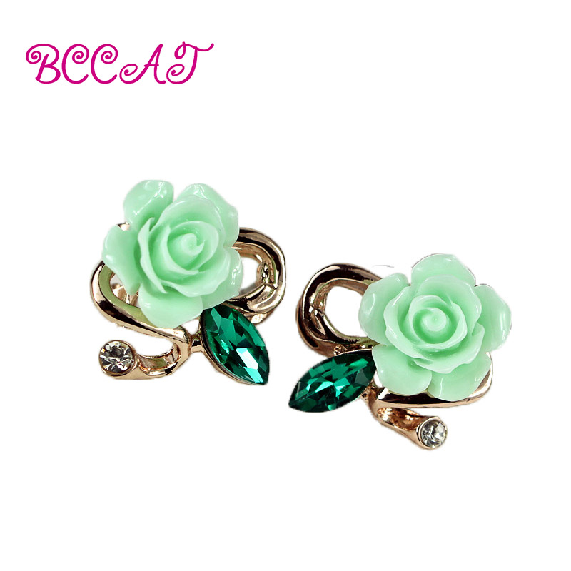 BCCAT black Friday hot selling brand jewery luxury crystal double stud charm earrings for women Ceramic flowers earrings